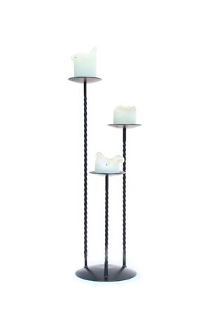Candlestick - Wrought Iron, Triple Sticks